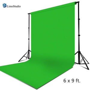 Photography Background Muslin Backdrop, Green Chroma Key Effect, Pre Stitch Loop for Easy Install on Cross Bar, Video Studio, Premium Quality Fabric Material, Photography Studio, AGG2237