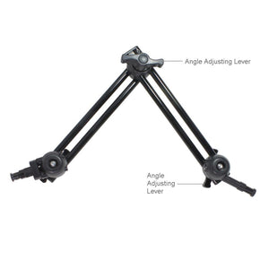 "2 Section Double Articulated Arm Camera Mount Bracket, 5/8"" Stud with 3/8"" Screw Thread Hole, 12 Inch Long Each Section, Compatible with Photo Super Clamp, Angle Adjustable, AGG2242"