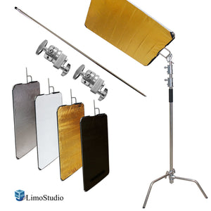 Photo & Video Studio Heavy Duty C-Stand Kit, 10 ft. Max Height, Turtle Base, 4 ft. Boom Arm Bar, 2PCS Multi Functional Chrome Grip Head Adpater, 4 Color Reflector, Cleaning Cloth, AGG2248