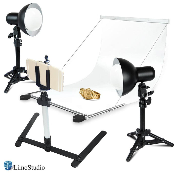 2 Sets of 18W LED Table Top Lighting Kit with Light Stand Tripod &Portable Ecommerce Business Shooting Table White Background, AGG2249