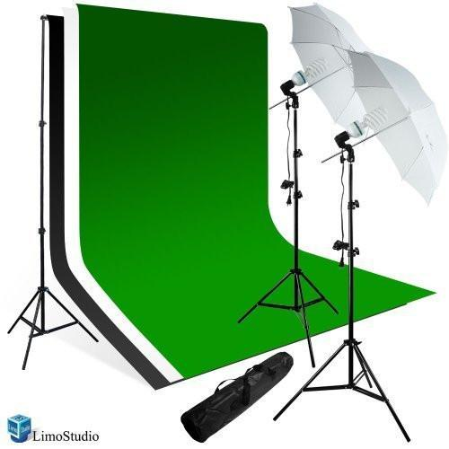 800 Watts Premium Portrait Photo Studio Continuous Light, Umbrella Kit, Photo Studio White, Black, & Green Chromakey Backdrop, AGG224V2