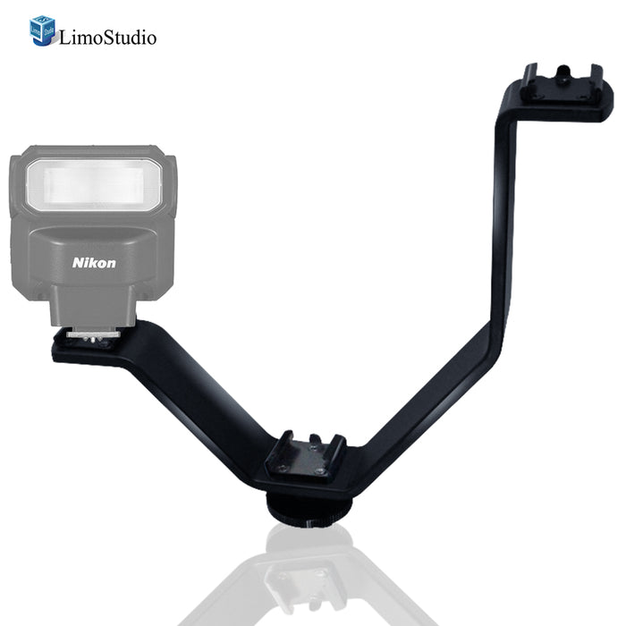 LimoStudio Triple Mount Cold Shoe V Mounting Bracket for Video Lights, Microphone, Monitor, Camera Accessories, Photo Studio, SRE1241