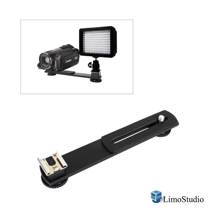 "LimoStudio 6.3 inch Straight Camera Flash Bracket 1/4""-20 Screw Hot Shoe Mount for Video Lights, Microphone, Monitor and Camera Accessories, SRE1087"