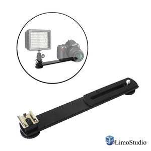 "7.5 inch Straight Camera Flash Bracket 1/4""-20 Screw Hot Shoe Mount for Video Lights, Microphone, Monitor and Camera Accessories, AGG2318"