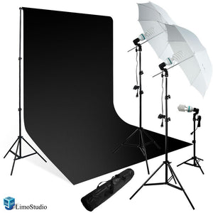 "600 Watt Photo Studio Light Kit, 10' x 10' Solid Black Muslin Backdrop with Adjustable Backdrop Support, 2 x 45 Watt Continuous Light Kit with 2 x 33"" White Diffuser Umbrella Kit, AGG231"