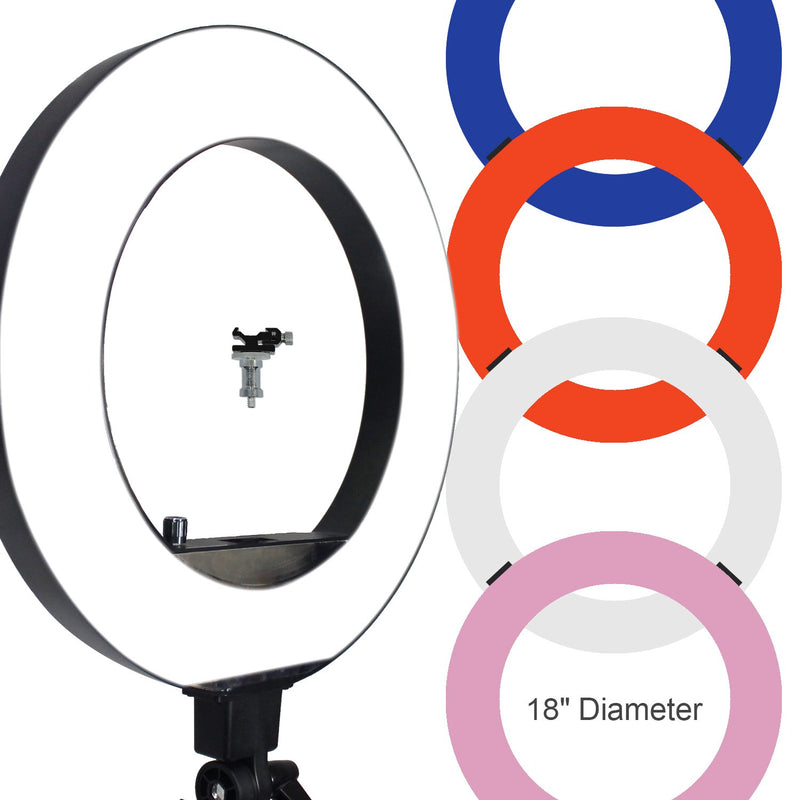 18 inch Fluorescent 5500K Dimmable Ring Light and Portrait Light??with 4-Color Ring Light Diffuser Cloth (White, Orange, Pink, Blue) for Soft Light, Warm to Cool Colors, AGG2329