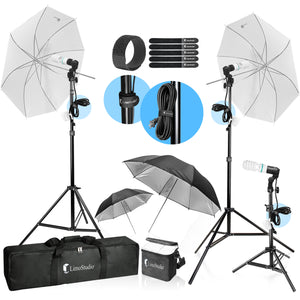 LimoStudio Photography Video Portrait Studio Daylight Umbrella Continuous Lighting Kit with Energy Saving Bulb, Velcro cable ties, Photo Studio, SRE1098