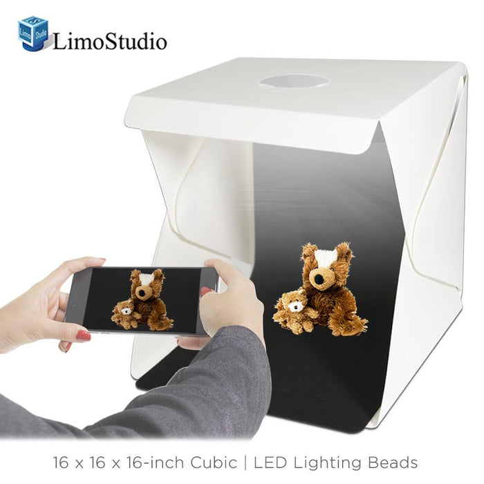 16-inch Cubic LED Light Foldable & Portable Photo Shooting Tent Box Kit, Including White / Black Background, USB Cable Power, Commercial Product Shoot, Small Medium Size Product, AGG2334