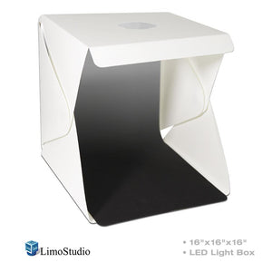 "16"" Cubic LED Light Foldable & Portable Photo Shooting Tent Box, Including White/Black Background, USB Cable Power, Commercial Product Shoot, Medium Size Product, Cleaning Cloth, AGG2335"