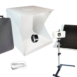 16 inch, 40 x 40 x 40cm 70 LED Foldable & Portable Photo Studio Lighting Box Tent Kit with White / Black Background, USB Power Cable, Table Top Mini Stand, Cellphone Clip Holder, AGG2337