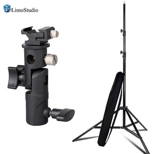 7 ft Photo Studio Light Stand for Photo Video Studio Softbox or Umbrella Lights with Hot Shoe Flash Bracket, Umbrella Mount Adapter, AGG2345