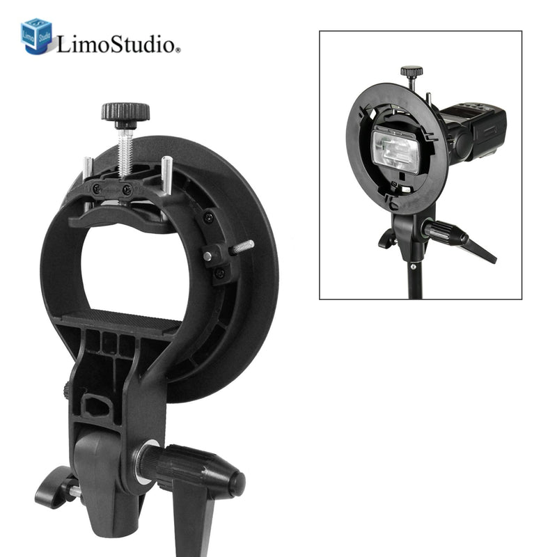 S-Type Bowens Mount Holder for Speedlite, Flash, Snoot Softbox and Umbrella Mount Bracket, Photostudio, AGG2370