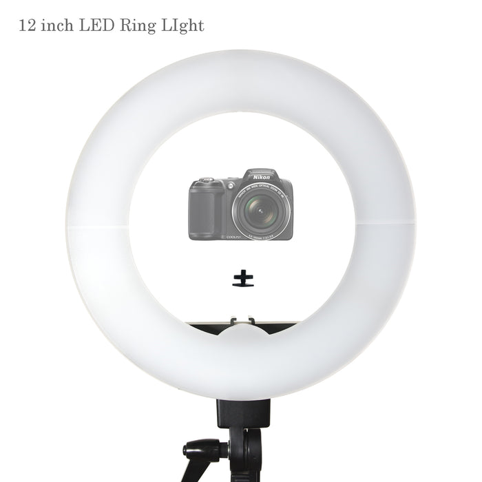 12 inch LED Ring Light 5600K Dimmable, 1/4 inch Screw Nut Camera Mount Adapter, Light Diffuser Installed, Photo Studio, AGG2374