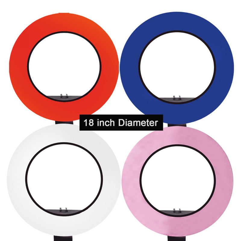 "18"" Ring Light 4-COLOR Soft Cover Diffuser Cloth Kit (Blue, Red, Pink , White) for less Contrast and Soft Lights, Warm to Cool Colors, AGG2399"