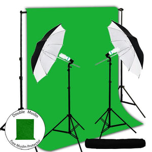 "280W Photography Light Kit + 10 x 10 ft. Green ChromaKey Muslin Backdrop, Large 40"" Double Layer Black/White Umbrella Reflector, AGG241"