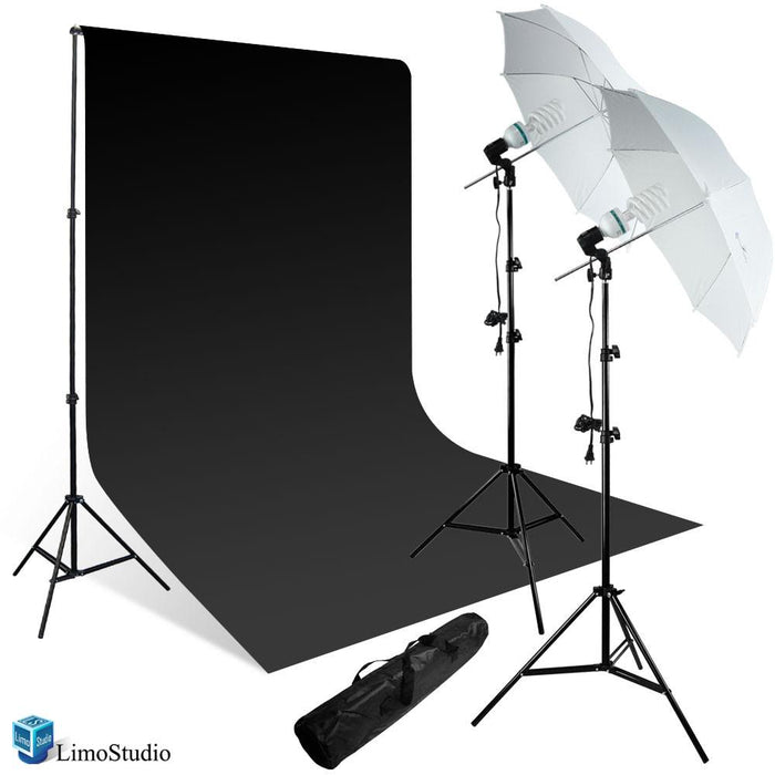 400W Photo Studio Continuous Light, Black Background Muslin Backdrop, Photo Studio Chromakey Background Equipment, Photo Umbrella Kit with Lighting Kit, AGG248