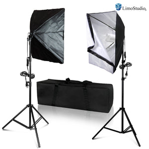 LimoStudio [2 Set] 20 x 28 inch Dimension Soft Box with Built-in Single Bulb Socket with 85 Watt Light Bulb, Photo Video Studio, SRE1245