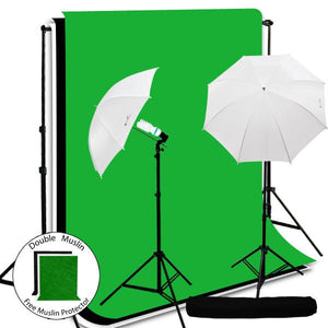 "400W Photography Lighting Light Kit , 10' x 10' Black/Green/White Muslin Backdrop Background Photo Portrait Studio 33"" Umbrella Continuous Lighting Kit, AGG255"
