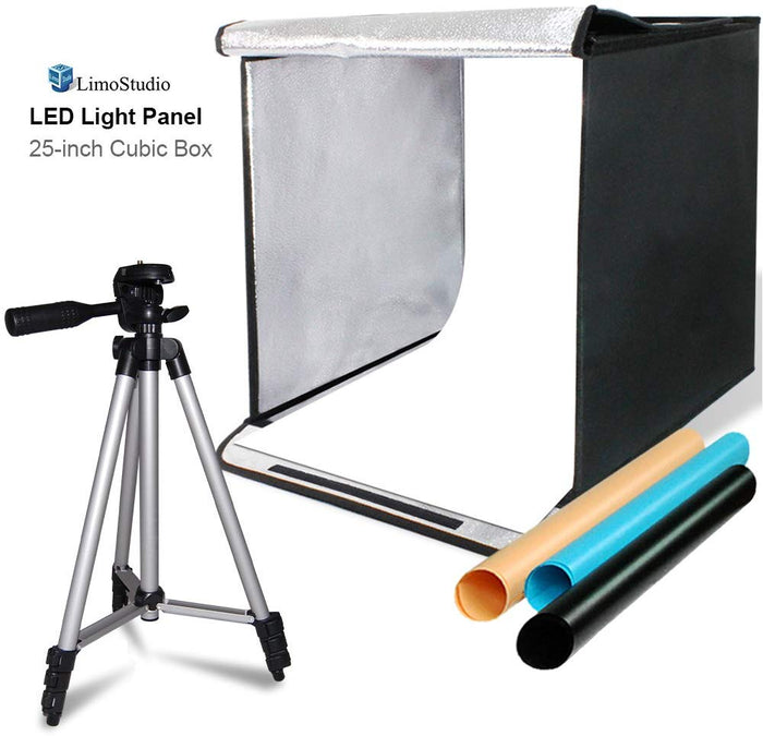 "LimoStudio 25 Square Inch Cubic Box Lighting Table Top Foldable Photo Shooting Tent for Photo Shoot, 4 Colors Background, LED Panel, with 50"" Camera Camcorder Tripod and Tripod Carrying, SRE1299"
