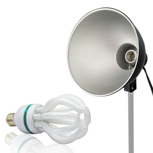LimoStudio Continuous Lighting Light Head Adapter with Metal Reflector Lamp Dish, Photo Video Studio, SRE1215
