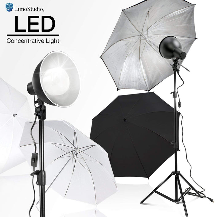 "LimoStudio 2700 Lumen LED Light Bulb with 7.5"" Diameter Metal Dish Lamp for Concentrative Spotlight, Light Stand Tripod, White Umbrella Reflector, Photography Video Studio, SRE1168"