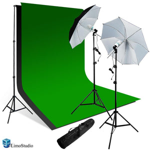 800-840W Photo Studio Background, Photo Lighting Kit w/ Black & White Umbrella Reflector, Photo Umbrella Kit, Studio Equipment Green Chromakey Muslin Backdrop, AGG260