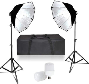 LimoStudio 2 Sets of 26-inch Octagon Softbox Lighting Kit for Photo Video Studio with Diffuser Cover, Bulb Socket, 20W LED Bulb, Light Stand Tripod, and Carry Bag, SRE1129