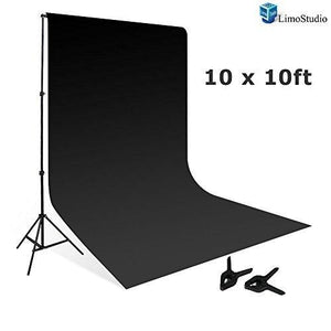 10' x 8.5' Background Stand Backdrop Support System Kit + 10' x 10' Black Muslin Backdrop Background Photo Portrait Studio, AGG263