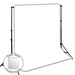 10' x 8.5' Photography Backdrop Support System Kit + 6' x 9' White Muslin Backdrop Background Photo Portrait Studio, AGG264