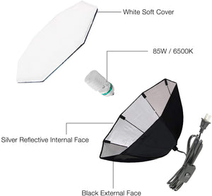 LimoStudio Octagon Softbox Lighting Kit with Boom Arm Stand, Sand Bag Weight, 85W Photo Bulb, and Carry Bag for Photo Video Studio, SRE1294