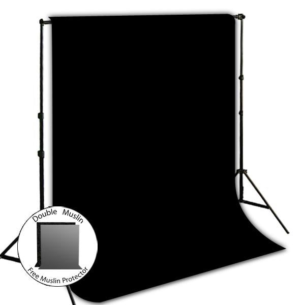 10' x 8.5' Background Stand Backdrop Support System Kit + 6' x 9' Black Muslin Backdrop Background + 6' x 9' Black Muslin Protector Photo Portrait Studio, AGG274