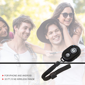 LimoStudio Black Bluetooth Wireless Shutter Remote Control for All Smartphones and Tablets, Android and iOS with Wrist Strap, SRE1242