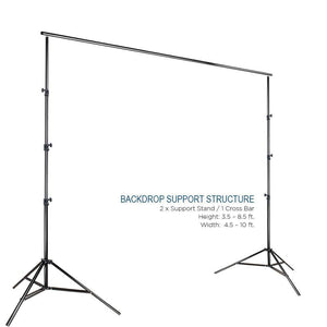 10' x 8.5' Background Stand Backdrop Support System Kit + 6' x 9' Black Muslin Backdrop + 6' x 9' White Muslin Backdrop Background Photo Portrait Studio, AGG278V2