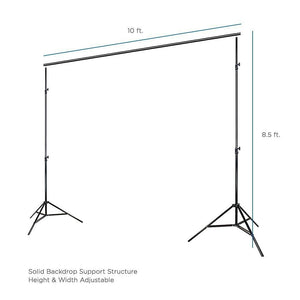 10' x 8.5' Background Stand Backdrop Support System Kit + 6' x 9' Black Muslin Backdrop + 6' x 9' White Muslin Backdrop Background Photo Portrait Studio, AGG279