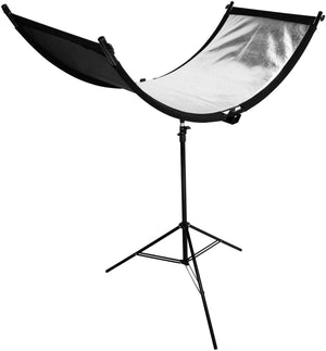 LimoStudio Bent Light Reflector/Diffuser Set with Silver, Gold, and White Reflectors and Tripod Stand for Photography and Video Studio, Ideal for Portraits and Beauty Shots, SRE1123