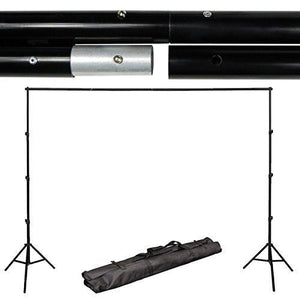 10' x 8.5' Background Stand Backdrop Support System Kit + 6' x 9' Green/Black/White Chroma Key Muslin Backdrop, AGG280