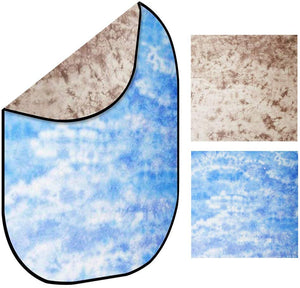 LimoStudio 7' x 5' Tie Dye Brown and Sky Blue Reversible Disc Panel Fabric Background, Double Sided Collapsible Reflector Backdrop for Photography and Video, SRE1303