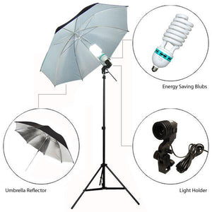 "6500K DayLight 840W Photography Large Double Layered 40"" Black & White Umbrella Reflector Light Continuous Lighting Kit, AGG284"