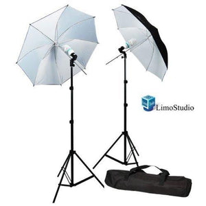 "6500K Day Light 400 Watt Photography Large 40"" Black/White Umbrella Continuous Photo Lighting Kit, AGG285"