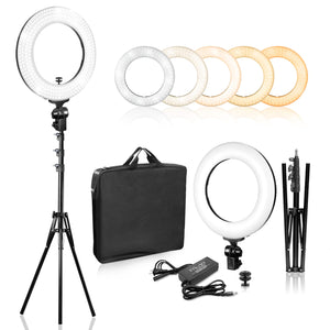 LimoStudio 14 inch Dimmable Ring Light LED Dual Color Continuous Lighting for Charming Eyes and Beauty Facial Shoot, Photo Studio Salons Beauty Shop Selfie Light Stand, SRE1028