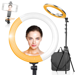 KimOutlet,LED 18 inch Ring Light Multi Color Temperature 3200K–5600K and Dimmable with Camera Adapter & Height Adjustable Photo Studio Light Stand Tripod,360° Swivel Mini Ball Head Adapter, SRE1204