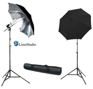"6500K Daylight 400 Watt Photography 33"" Silver Reflector Umbrella Continuous Photo Lighting Kit, AGG287"