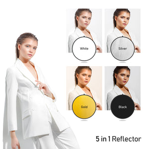 "LimoStudio 32"" 5-in-1 Disc Reflector, 5 Colors White, Black, Silver, Gold, Translucent, Photo Studio Light Stand, Clamp Clip Holder Light Stand Mount Bracket with Umbrella Reflector Holder, SRE1054"