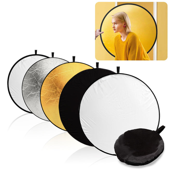 "LimoStudio 32"" 5-in-1 Photography Studio Collapsible Multi Photo Disc Reflector, 5 Colors White, Black, Silver, Gold, Translucent for Photo Video Studio, SRE1068"