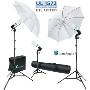600W 5500K Photo Video Studio Continuous Lighting Bundle Kit UL1573 ETL Listed Photo Bulb Socket, White Umbrella Reflector, Photography Studio, Stand Carry Bag, Light Stand Tripod, AGG293