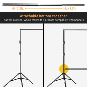 "LimoStudio Heavy-Duty Backdrop Background Banner Stand, Cross Bar 9.5 ft Wide Background Stand 9.3 ft Tall, Professional 1.35"" Thicker 3 Legs Stand with Carry Bag, SRE1195"