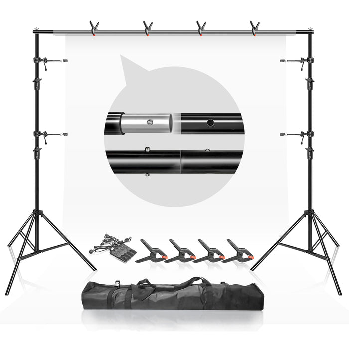 LimoStudio 10Ft Adjustable Muslin Background Backdrop Support System Stand with Accessories, Spring Clamp and String Clips,Perfect for The for Wedding, Birthday, Family Party and Photography, SRE1060