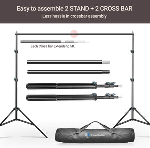 Limo Studio Photo Video Height Adjustable Backdrop Support Stands, 10 ft. Wide Cross Bar 7.3 ft. Tall Background Stands with Carry Bag, 4pcs Muslin Clamp, Photography Studio, SRE1041