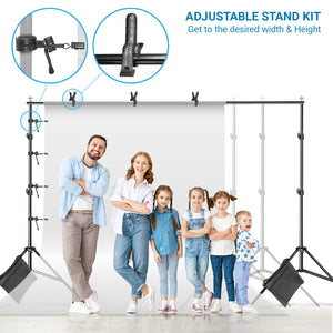 Limo Studio Photo Video Muslin Backdrop Support Stands, Adjustable 10 ft. Wide Cross Bar 7.3 ft. Tall Background Stand with Carry Bag, 3pcs Muslin Clamp and 4pcs String Clip, SRE1073
