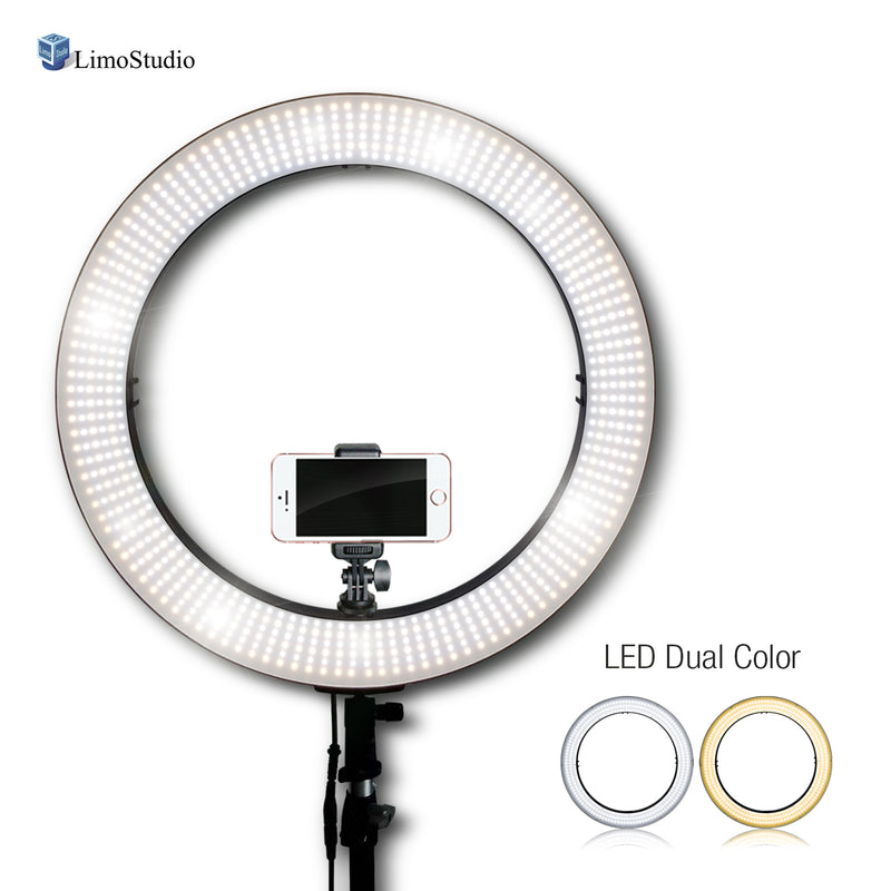 "LimoStudio LED 18"" Ring Flash Light Dimmable / Color Temperature Control, SMD LED Lighting with Carrying Case, AGG302V5"